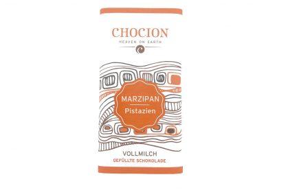 Edel-Vollmilchschokolade gefüllt mit Marzipan Pistazien von Chocion