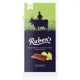 Vollmilchschokolade Limette & Haselnuss 90 Gramm Tafel von Ruben's